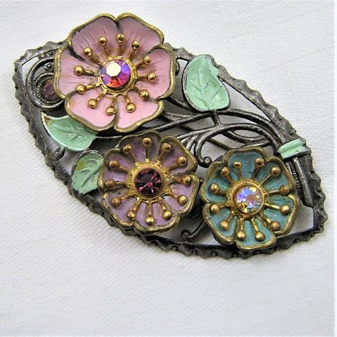 Vintage Pot Metal Flower Brooch in Pastels of Pink, Purple, Teal, Green. Flowers are Set with Different Colored Rhinestones. 3 Inches. (D25)