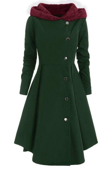 Lange Ärmel Frauen Mantel mit Kapuze Langer Mantel Strickjacke Stilvoll Mode