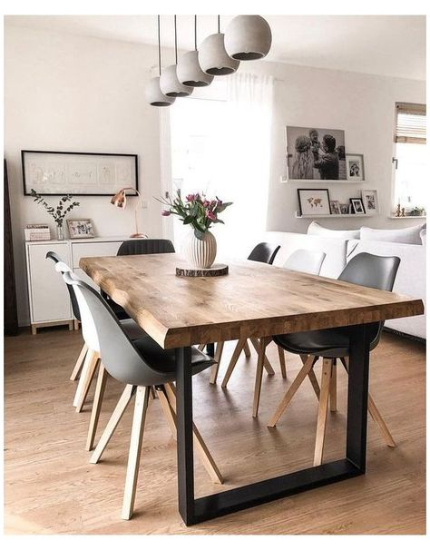 Dining Room Table Decor, Dining Room Walls, Dining Room Design, Living Room Decor, Dinning Room Ideas, Dining Room Storage, Small Living Rooms, Contemporary Dining Room Lighting, Contemporary Style