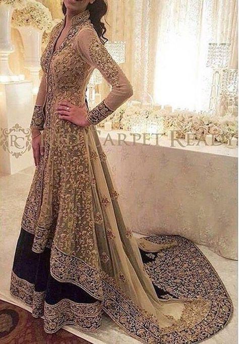 Pakistani Wedding Dress - Gold and Black