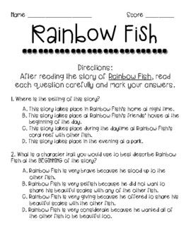 Rainbow Fish Comprehension And Theme By Teaching Georgia Littles Rainbow Fish Comprehension Rainbow