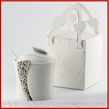 Zuccheriere In Ceramica Bianca Argento Bomboniere Matrimonio 2017 Particolari Economiche Zuccheriere Bomboniere Ceramica Bianca