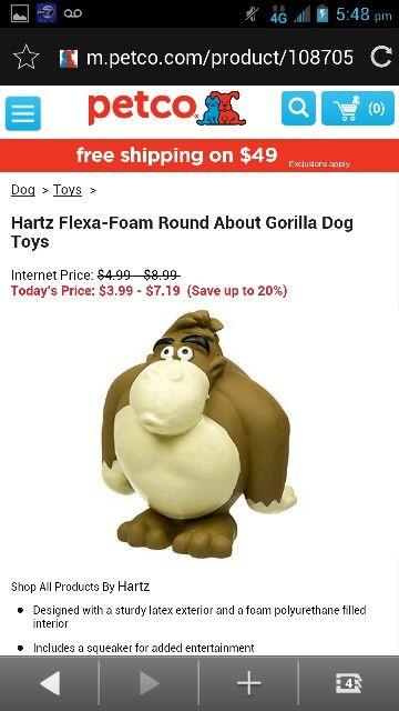 Hartz Flexa Foam Round About Gorilla Dog Toy Dog Toys Petco Foam