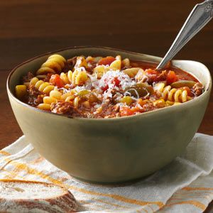 Best Lasagna Soup - Ground Beef, Green Pepper, Onion, Garlic, Diced Tomatoes, beef broth, tomato sauce, corn (280 calories)