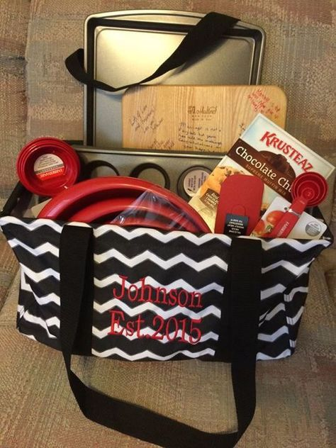 Fill a Large Utility Tote with kitchen goods as a gift for a wedding, new neighbor or holiday.