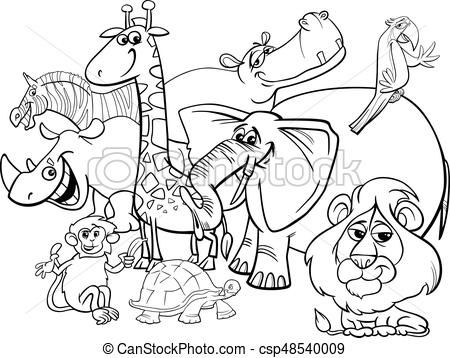 Cartoon Safari Animals Coloring Page Vector Stock Illustration Royalty Free Illustrations Animal Coloring Pages Zoo Animal Coloring Pages Zoo Coloring Pages