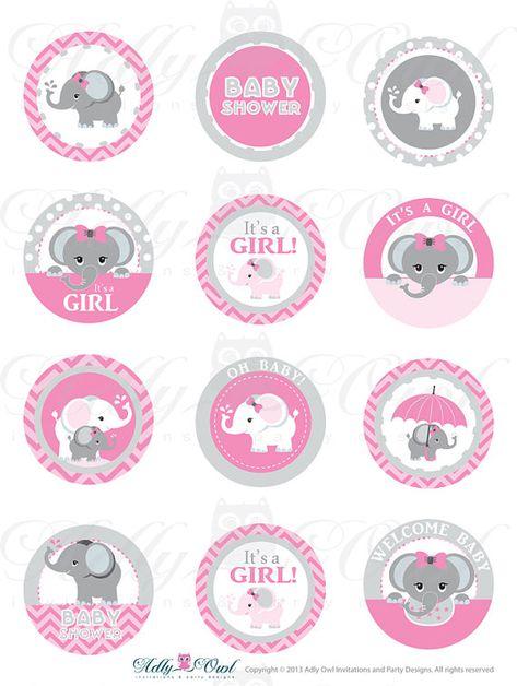 Pink Grey Girl Elephant Baby Shower Cupcake by adlyowlinvitations, $4.00