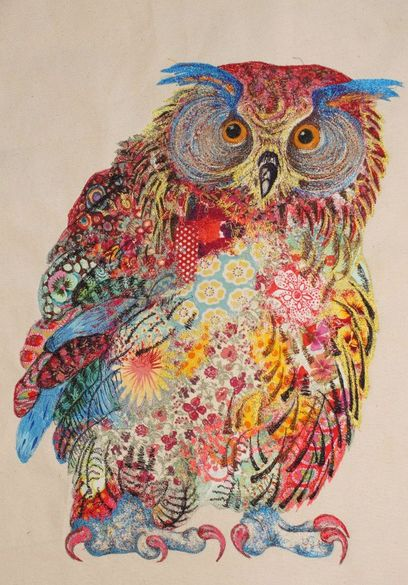 Ticks three boxes: Owl, interesting stitches and use of colour. Handembroidered owl by Sophie Standing