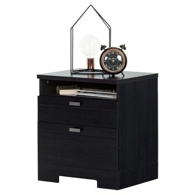 Reevo Nightstand With Drawers And Cord Catcher Black Onyx South Shore Nightstand With Charging Station Bedroom Night Stands Storage Spaces