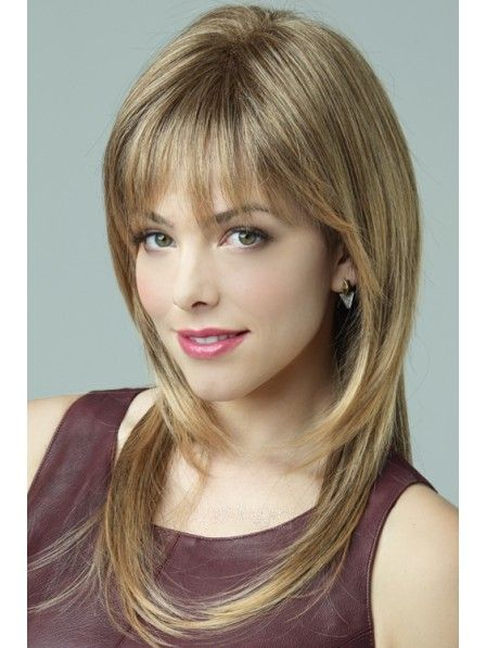 Long Straight Synthetic Layered Wig With Bangs Long Hair Styles Long Hair Trends Long Straight Hair