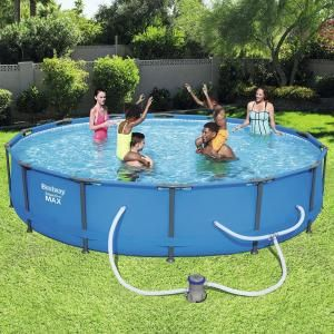 Bestway Steel Pro 14 Ft Round X 33 In Deep Above Ground Pool Package 56597e The Home Depot Best Above Ground Pool Deep Above Ground Pools In Ground Pools