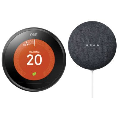 Google Nest Wi Fi Smart Learning Thermostat 3rd Gen Nest Mini 2nd Gen Black Charcoal Nest Cool Things To Buy Wifi