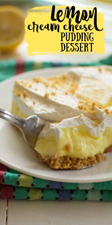 A simple layered no-bake dessert with a cream cheese lemon pudding layer, it's perfect for potlucks. A simple layered no-bake dessert with a cream cheese lemon pudding layer, it's perfect for potlucks. Mini Desserts, Cream Cheese Desserts, No Bake Desserts, Easy Desserts, Desserts For Potluck, Recipes With Cream Cheese, Lemon Cream Cheese Pie, Whipped Cream Desserts, Desserts Keto