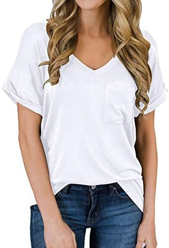 MIHOLL Women's Short Sleeve V-Neck Shirts Loose Casual Tee T-Shirt | Casual tops for women, Womens shirts casual, Casual tee Best Women's t-shirts on Amazon