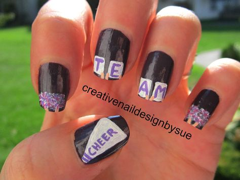 I decided to abandon my former schools and colors for this challenge and go with more generic nail art. I had just painted my nails purple.