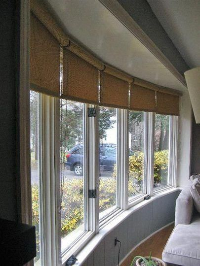 Roller Blinds In A Large Curved Bay Window Too Safe Bow Window Living Room Bay Window Treatments Living Room Windows