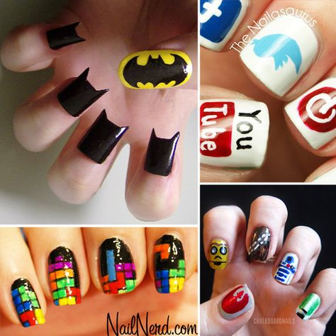 40+ Cool Manis For the Ultranerd - If you're into Pinterest, you'll know that nail art pins are quite a staple on the social media network. When I'm pinning away, ever so often I'll come across a super geeky manicure — a refreshing look at some of the most creative nail designs. To see your favorite apps, comic book heroes, and video game characters come to life on nails, read on!