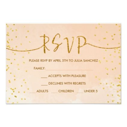 Peach Gold RSVP Card For Quinceanera Invitation