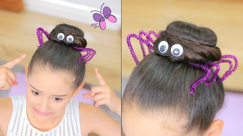 Spider Hairstyle for Halloween Crazy Hair Day Girls, Crazy Hair For Kids, Crazy Hair Day At School, Girl Hair Dos, Crazy Hat Day, Little Girl Hairstyles, Bun Hairstyles, Halloween Hairstyles, Crazy Hairstyles