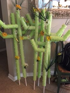 Cactus made from pool noodles. I did not do this a mom did for our Western 5th grade party.  used PVC pipe in the inside  And Cactus Silk leaves Used white pipe cleaner to make the stubs it was amazing...