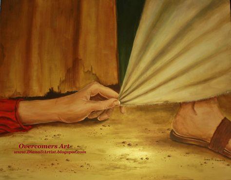 Hem Of His Garment -print of an original painting, of an act of desperate faith