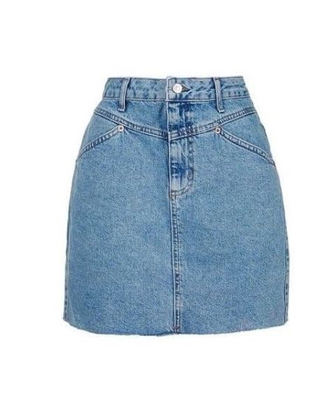 Discover the season's hottest denim at Topshop. From high-waisted shorts, A-line skirts to cool girl pinafores, shop the new edit for essential denim. Look Fashion, Fashion Outfits, Blue Denim Skirt, Knee Length Denim Skirt, Topshop Skirts, Ripped Denim, Aesthetic Clothes, Mini Skirts, Petite Skirts