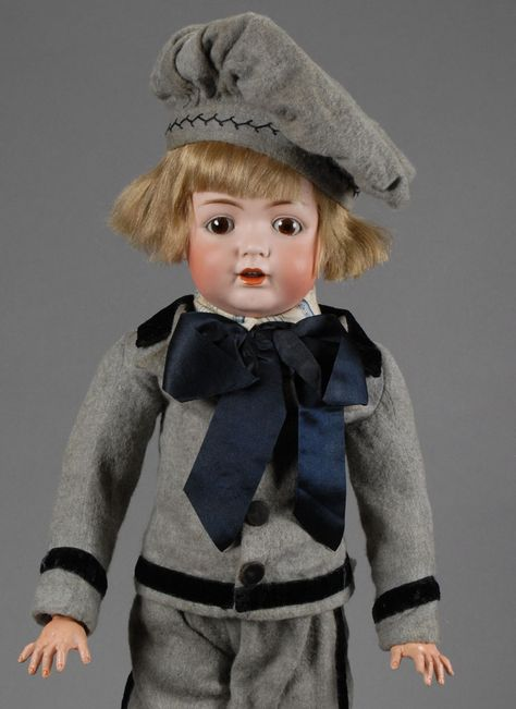 Dollhouse Miniature  Blonde Boy Doll in a Blue Outfit with Red Bow Tie