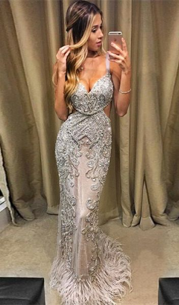 d2e1ce39c3754 Mermaid Spaghetti Straps Light Champagne Tulle Prom Dress with ...