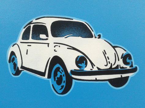 Volkswagen Beetle Painting Stencils Spray Paints Canvas Pop Art Kids Cars Classic Iconic German Blues Artwork Spray Paint Canvas Pop Art For Kids Blue Artwork