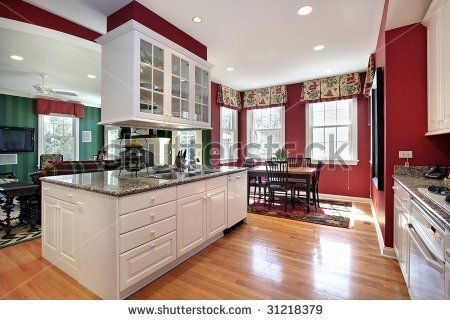 Stock Photo Kitchen With Island Red Walls