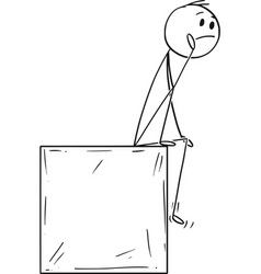 Cartoon Man Or Businessman Sitting On Box And Vector In 2021 Stick Figure Drawing Vector Free Vintage Drawing