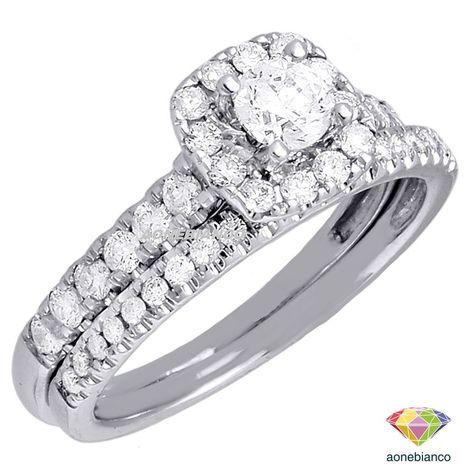 10K White Gold Over Silver Ladies Bridal Ring Wedding Engagement Diamond Band
