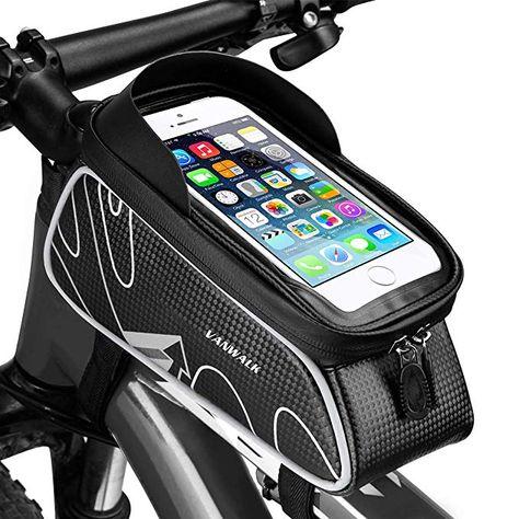 KANFF Bike Front Frame Phone Bag Waterproof Cycling Phone Mount Bag Bicycle Handlebar Storage Pack with Touch Screen /& Sun Visor