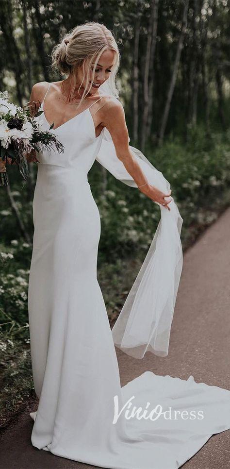 Cheap sheath spaghetti strap rustic wedding dresses for brides. #bridalgown #bridal #bridalgowns #weddinggown #bridetobe #bride #dreamdress #bridalcollection #weddingdressesrustic