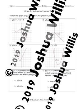 01 05 More Transformations Of Functions Worksheet Graphing