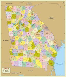 Georgia Zip Code With County Map County Map Zip Code Map