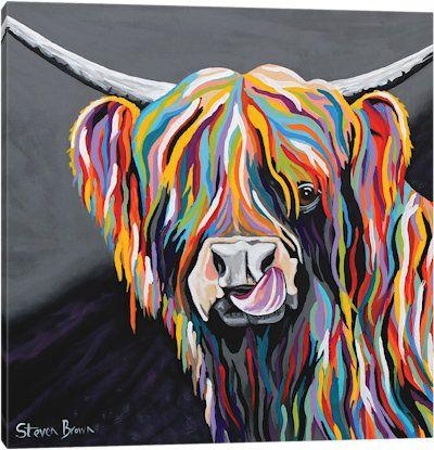 Heather Mccoo Canvas Art Print Highland Cow Art Cow Art Steven Brown Art
