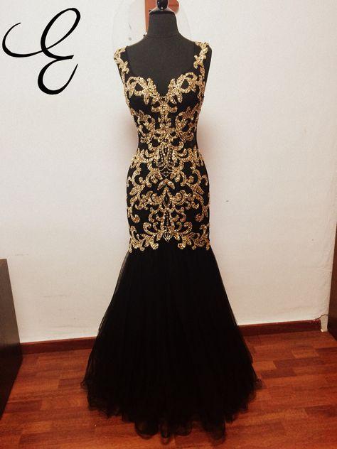 Black Dress Eveningdress Black Gold Longdress Fashion