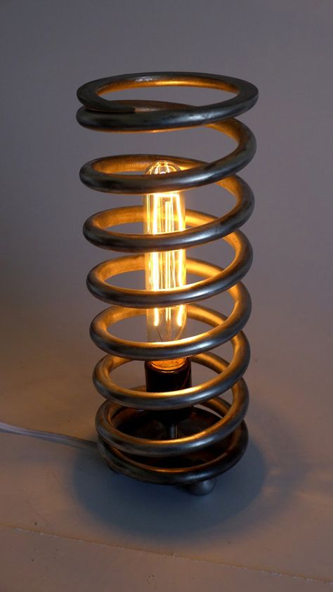 diy home decor - Industrial Handmade 'Upcycled' Car Spring Steel Steampunk Table Lamp with removable 'Shade' Modern Design Machine Cosplay Car Part Furniture, Automotive Furniture, Diy Furniture, Automotive Upholstery, Furniture Design, Furniture Assembly, Handmade Furniture, Furniture Projects, Furniture Makeover