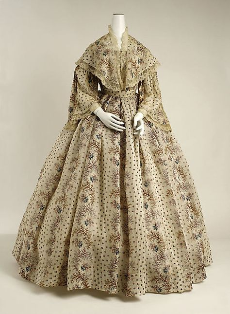 Dress 1850, French, Made of cotton