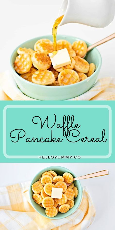 If you can't get enough of the viral pancake cereal trend, let us introduce you to our new favorite twist, waffle pancake cereal! Get double the breakfast fun with this two in one breakfast winner. Cute kids breakfast. #helloyummy