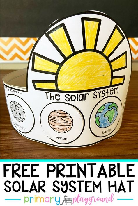 Free Printable Solar System Hat Free Printable Solar System Hat Primary Playground jenetteo Science Kids love learning about space Today I m sharing a Free Printable nbsp hellip Outer Space Crafts For Kids, Space Theme Preschool, Planets Activities, Solar System Activities, Space Activities For Kids, Solar System Crafts, Preschool Monthly Themes, Solar System Worksheets, Earth Science Activities