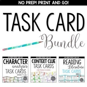 Included in this value bundle are 3 of my popular task card sets: - Character Analysis Task Cards - Context Clue Task Cards - Reading Literature Task Cards 7th Grade Ela, 6th Grade Reading, Middle School Reading, Sixth Grade, Rn School, School Stuff, Reading Task Cards, 4th Grade Classroom, Context Clues