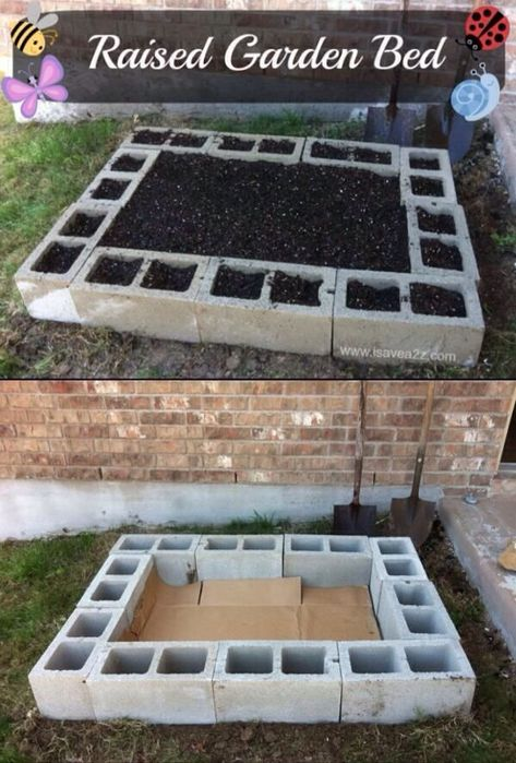 Easy DIY Raised Garden Bed, not with cement block though.  This is making my brain run away with ideas!