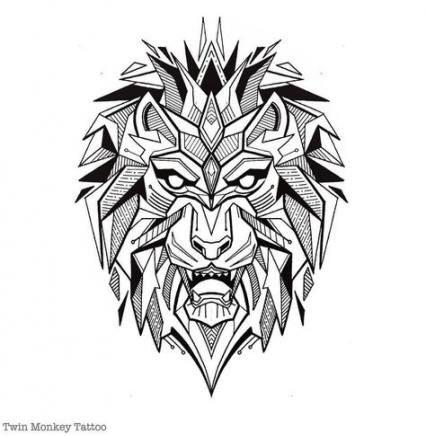 46 Ideas Tattoo Lion Head Geometric In 2020 Geometric Lion Tattoo Tribal Lion Tattoo Mens Lion Tattoo