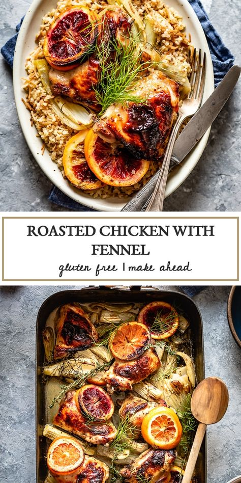 This One-Pan roasted chicken with fennel is a simple and comforting way to feed your family and friends. With a little bit of advance prep, it is ready in 45 minutes. #fennel #chickenrecipe #chickenwithfennel #weeknightchicken #chickendinner #chickenthighs #foolproofliving