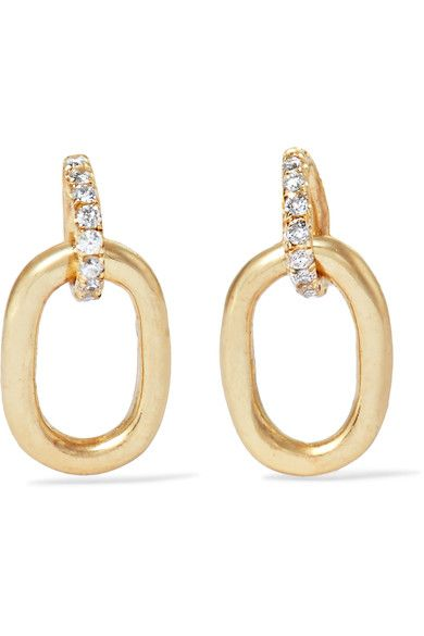 Pamela Love Tiny Beaumont 10 Karat Gold Diamond Earrings Modesens Gold Diamond Earrings Jewelry Earrings
