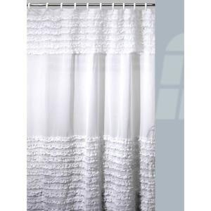 Interdesign 72 In Tuxedo Shower Curtain In White 22280 Ruffle