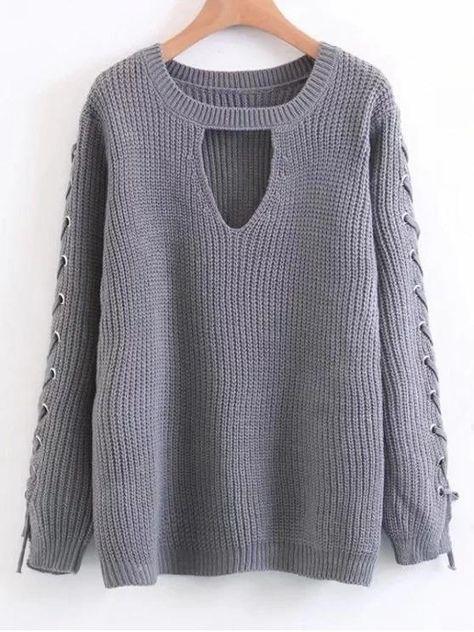 Fashion Lace Up Chunky Choker Sweater in 2018  a9b6cbbb9