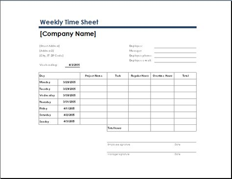 weekly time sheet with task and overtime Microsoft Templates - employee timesheet